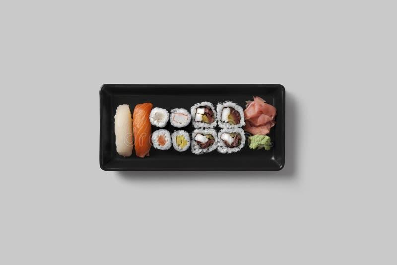 寿司集合的表设置 免版税库存照片