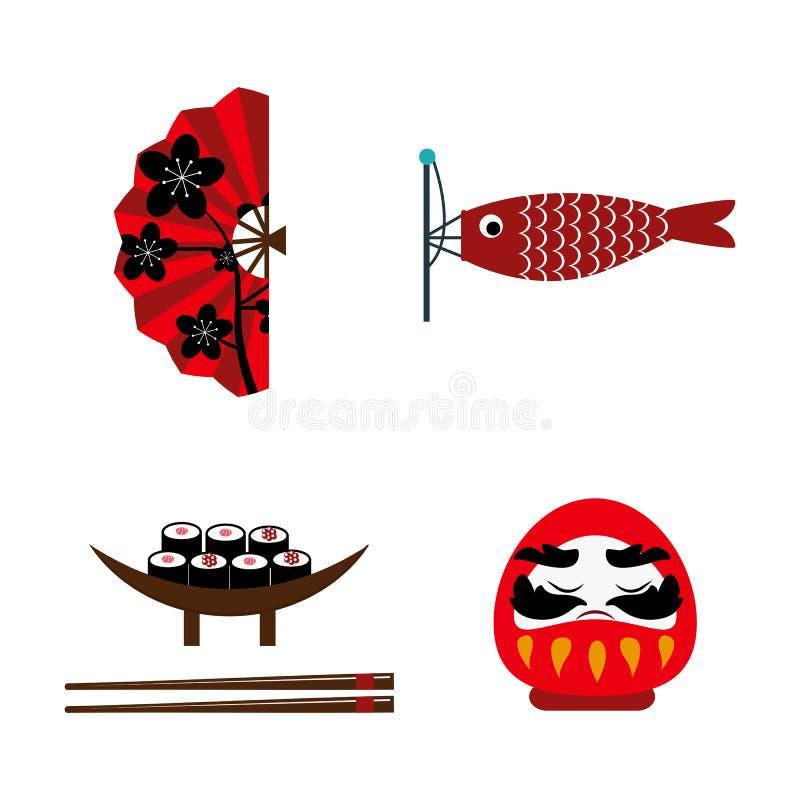寿司食物和日本地标旅行象导航例证 库存例证