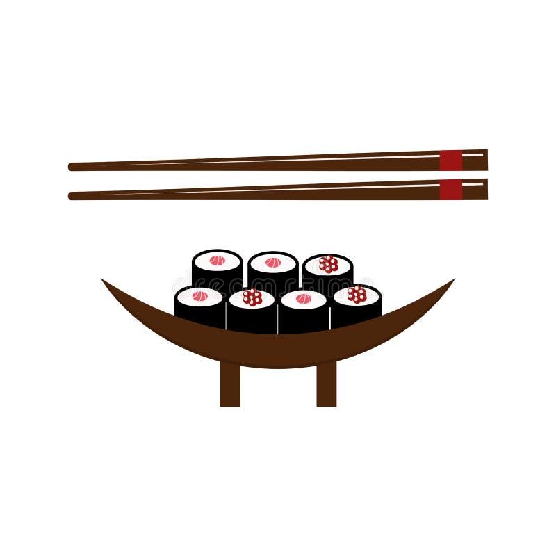 寿司食物和筷子传染媒介例证 库存例证