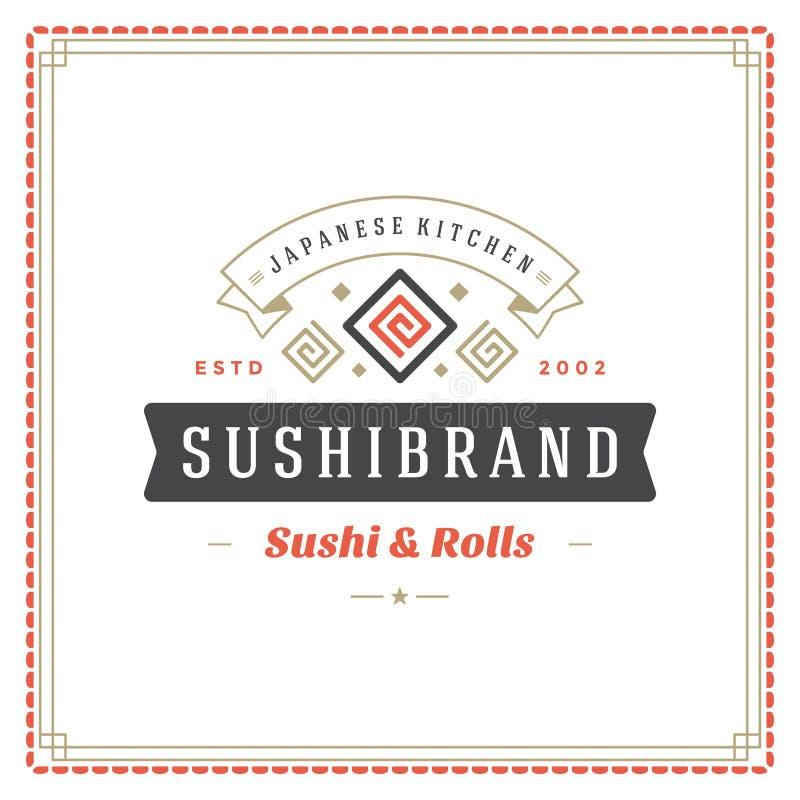寿司餐厅商标传染媒介例证 皇族释放例证