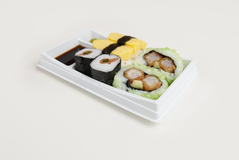 寿司饭菜外卖点 免版税库存照片