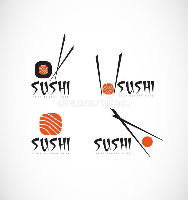 寿司鱼餐馆商标 库存例证
