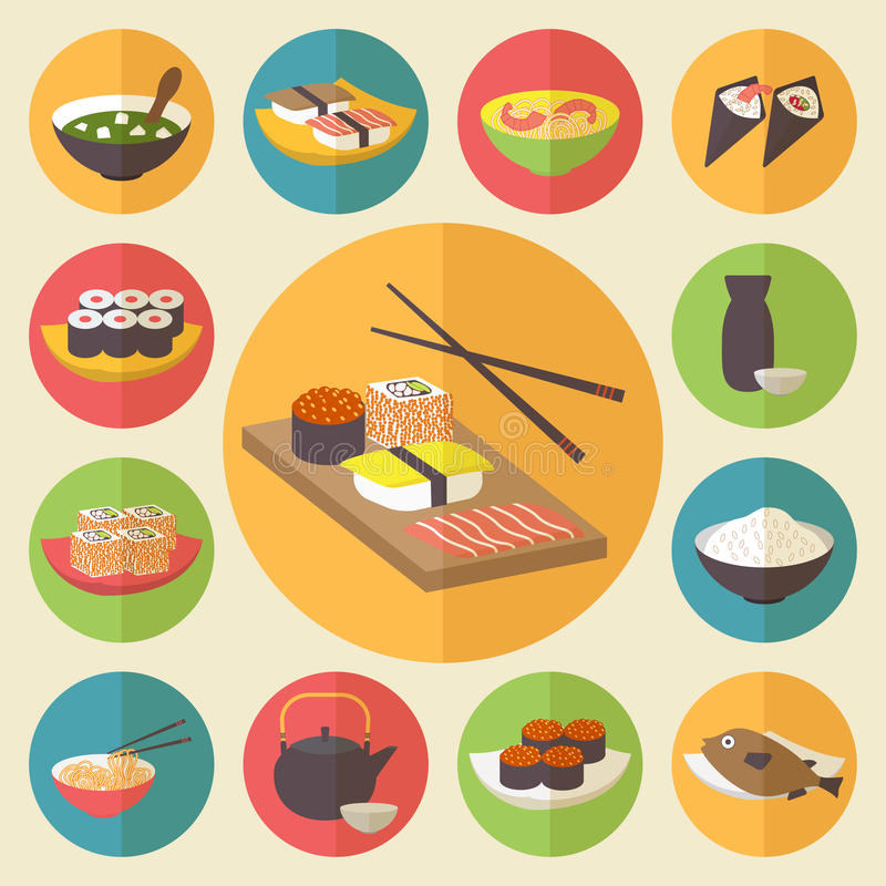 寿司,日本烹调,食物象设置了,舱内甲板 库存照片