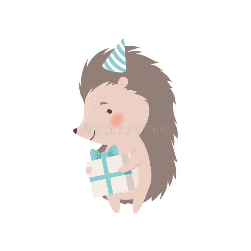 寿宴中可爱的刺猬抱礼盒,可爱的刺鼠卡通人物矢量图解 皇族释放例证