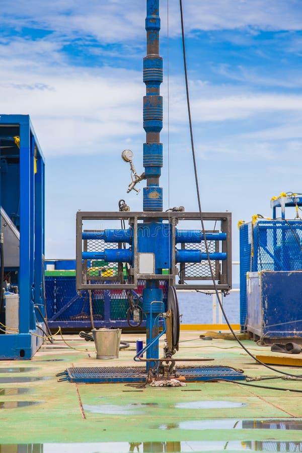 封井器和防喷管、钻油和煤气好的操作在近海平台 库存照片