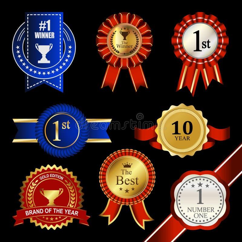 封印丝带玫瑰华饰徽章葡萄酒战利品奖牌获得者标记 库存例证