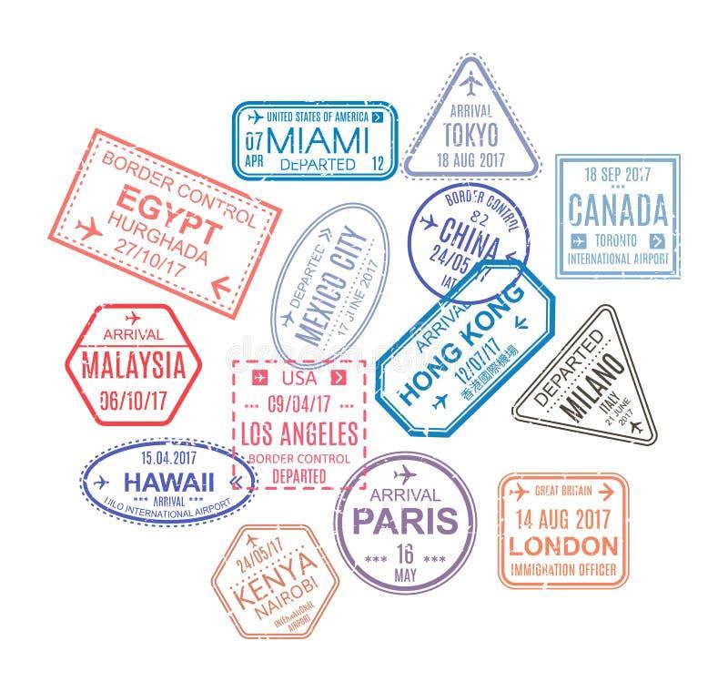 封印,从访问的国家 模板邮票,封印 库存例证