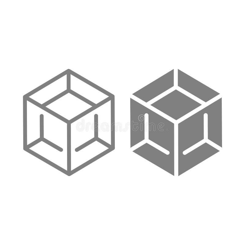 封闭的线路和纵的沟纹象 立方体在白色隔绝的传染媒介例证 箱子概述样式设计,设计为网和 库存例证