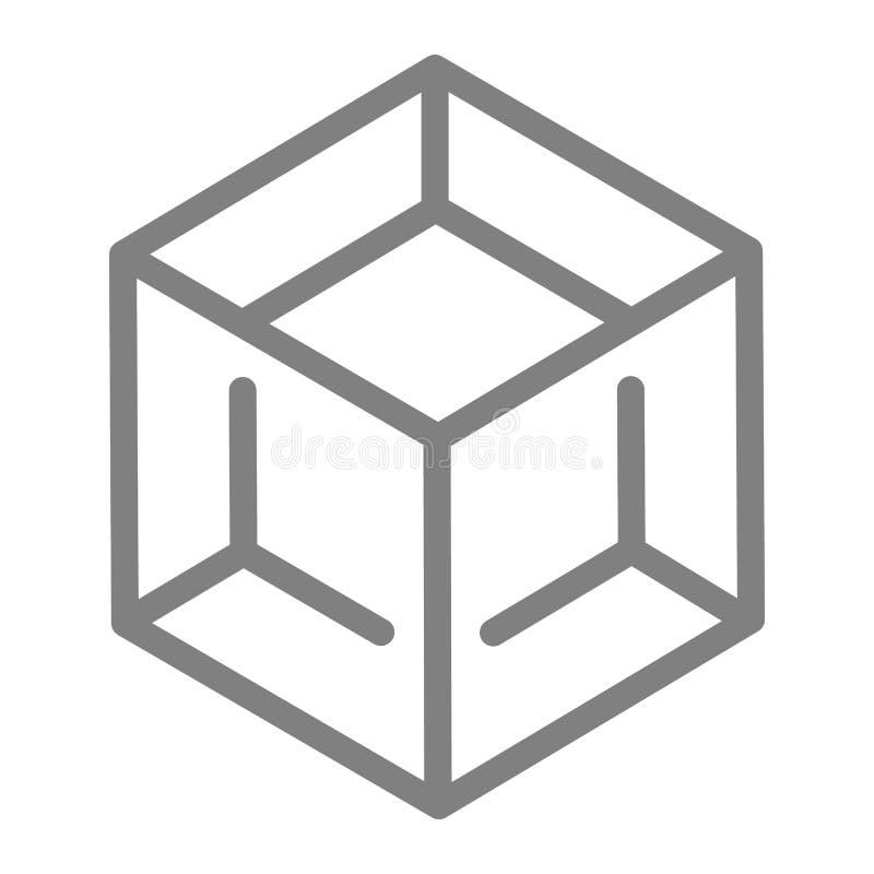 封闭的线路象 立方体在白色隔绝的传染媒介例证 箱子概述样式设计,设计为网和app 10 eps 皇族释放例证