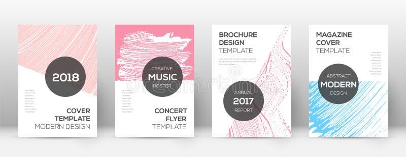 封页设计模板 现代小册子布局 秀丽的时髦抽象封页 蓝色粉红色 向量例证