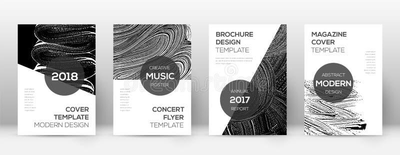 封页设计模板 现代小册子布局 秀丽的时髦抽象封页 黑色和whi 皇族释放例证