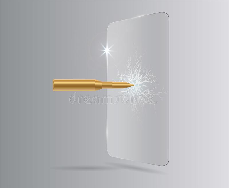 射击了在防护玻璃的一枚子弹,在玻璃的一个裂缝 导航被隔绝的屏幕保护者影片或玻璃盖 皇族释放例证
