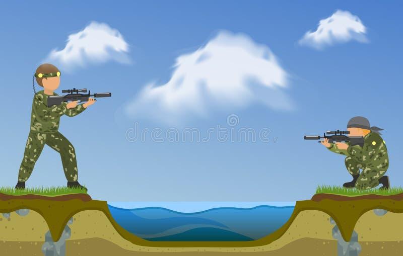 射击在彼此的迷彩漆弹运动球员在河横幅的双方 极限运动传染媒介例证 双人采取 向量例证