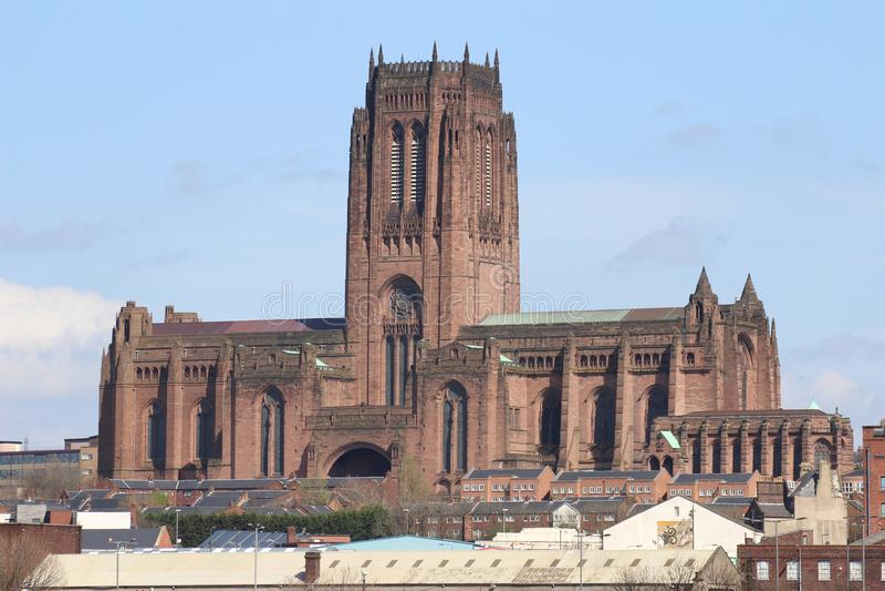 射击显示英国国教大教堂在利物浦 免版税图库摄影