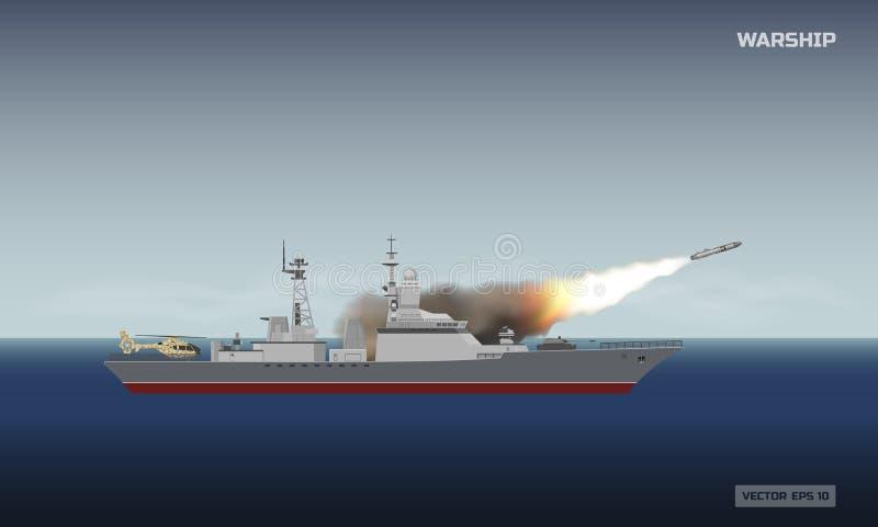 射击火箭的军舰 军事运送和在海背景的一枚导弹 关于武力冲突的新闻图象 向量例证
