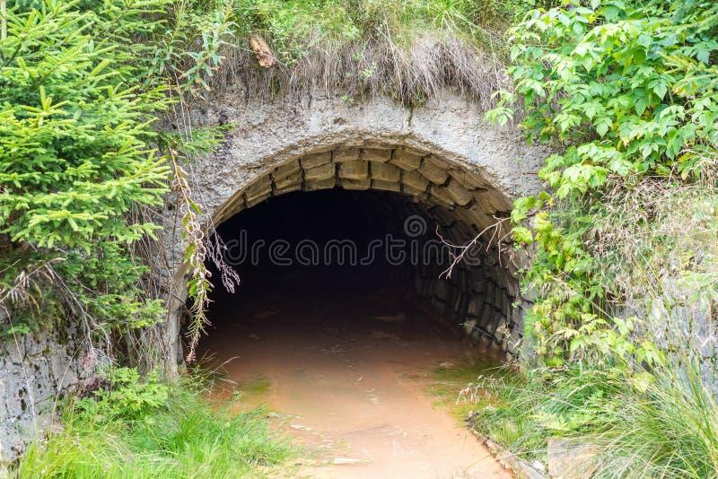 射击的被充斥的,被放弃的矿入口关闭 免版税库存图片