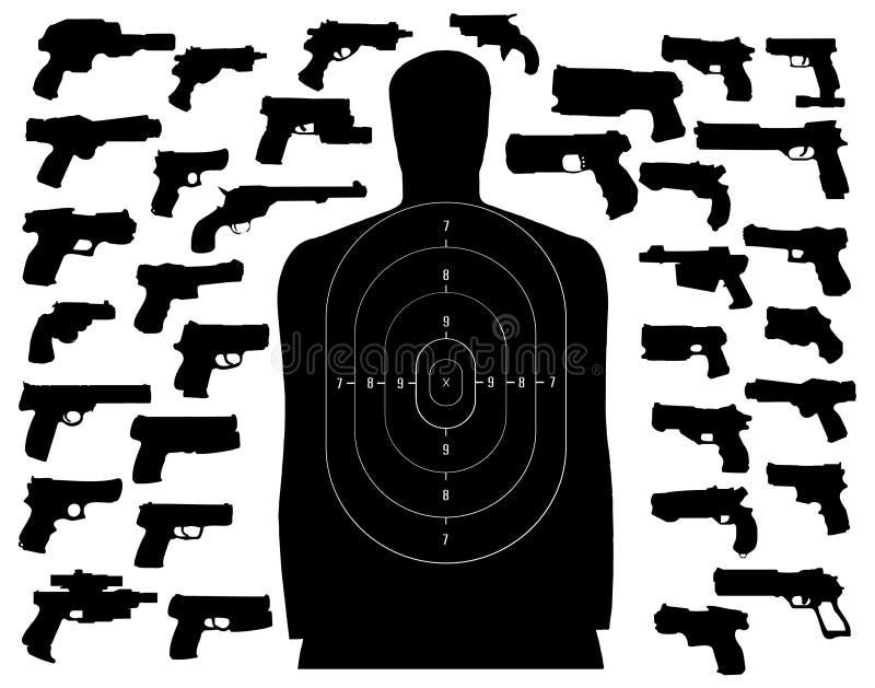 射击目标的枪 皇族释放例证