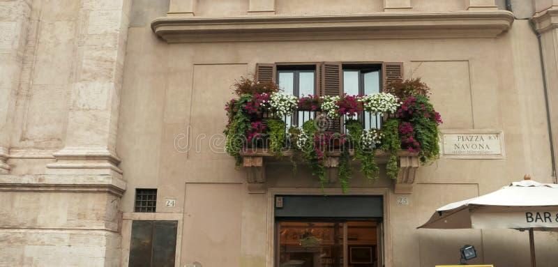 射击窗槛花箱和地方标志在广场navona在罗马 库存照片
