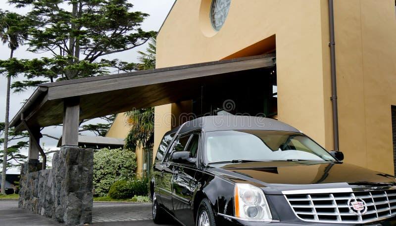 射击葬礼的一辆柩车 免版税图库摄影