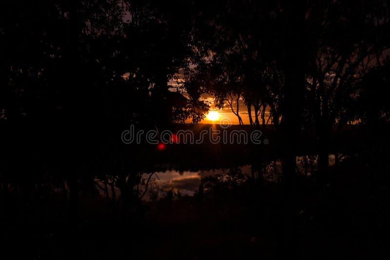 射击通过美好的日落的发辫在有1湖的澳大利亚澳洲内地,Nitmiluk国立公园,澳大利亚 库存照片