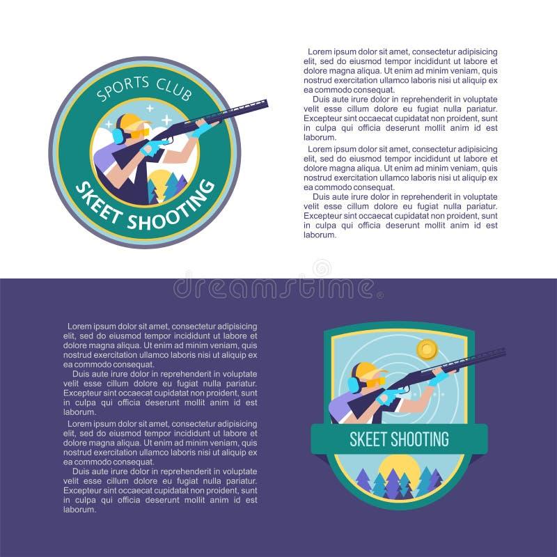 射击长柄水杓 与地方的设计文本的 传染媒介商标  向量例证