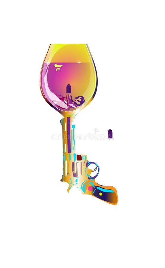 射击饮料 左轮手枪酒杯 打印在T恤杉和其他项目 查出的向量例证 向量例证