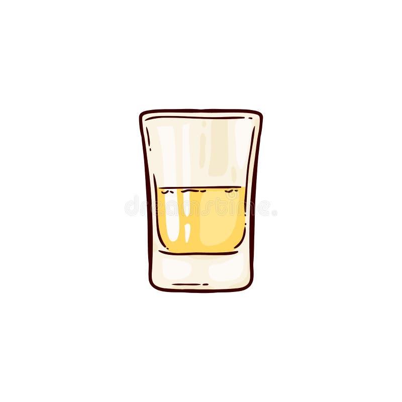射击龙舌兰酒,在玻璃的一份传统酒精墨西哥饮料 皇族释放例证
