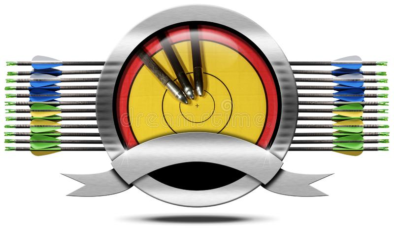 射箭与目标和箭头的金属标志 免版税库存照片