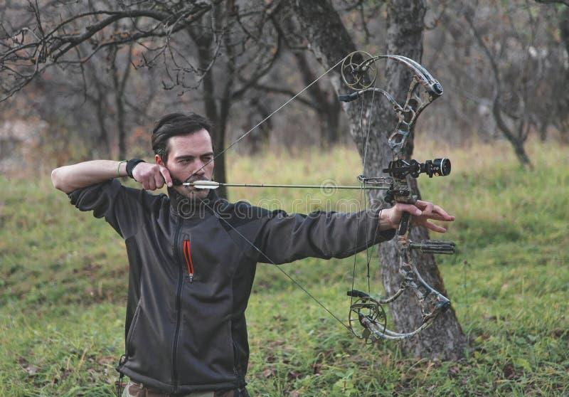 射箭射击复合弓 免版税库存图片