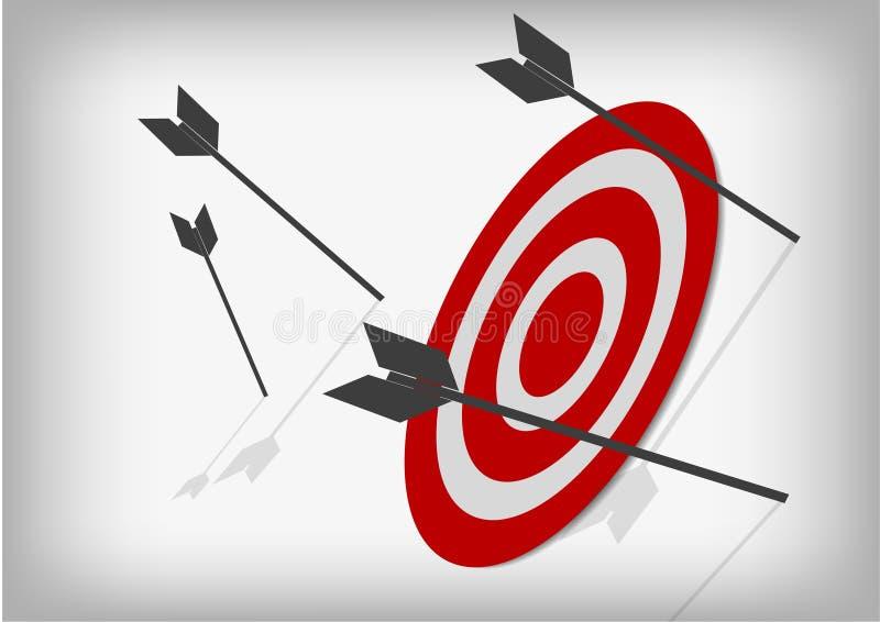 射箭目标和丢失的箭头在灰色背景 皇族释放例证