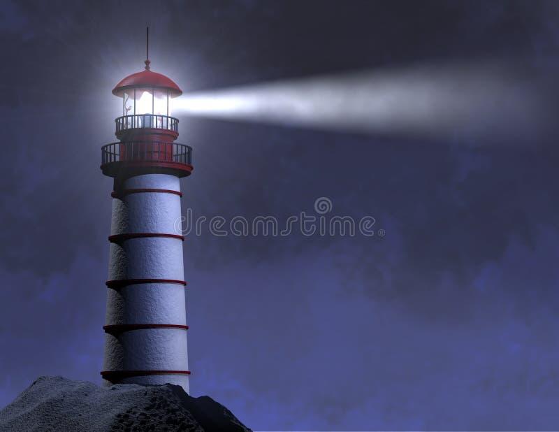 射线灯塔晚上 向量例证