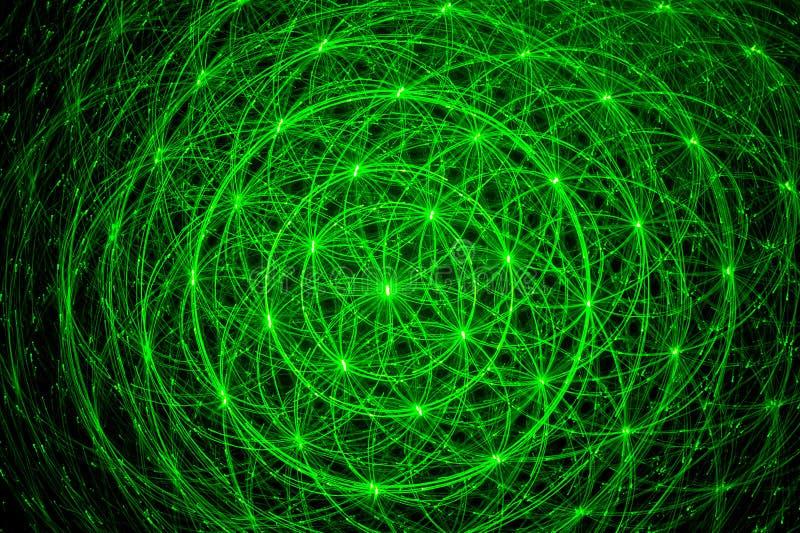 射线绿色激光 库存例证