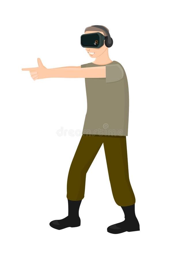 射击在虚拟现实中的手指 库存图片