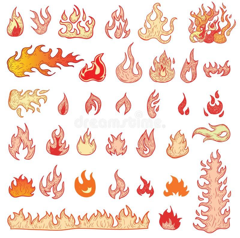 射击火焰,设置象,传染媒介例证 库存例证