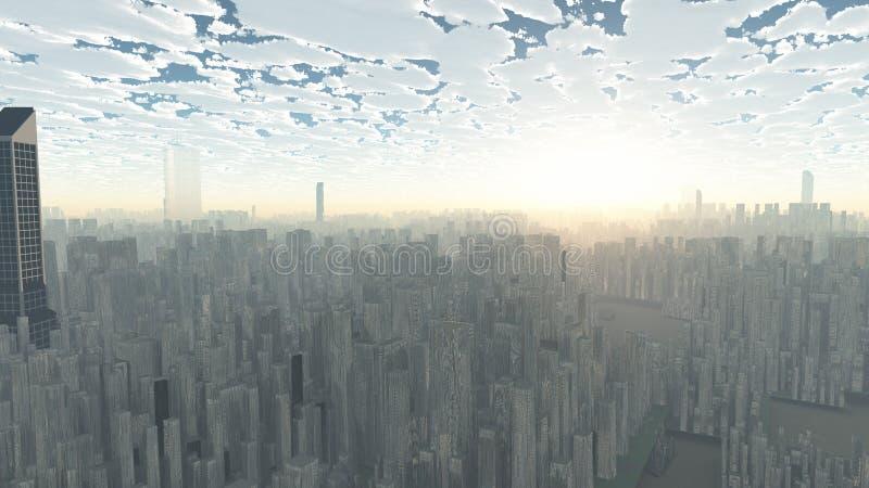 将来的房子找出我们替换的表示范围的城市钉牢他们 库存例证