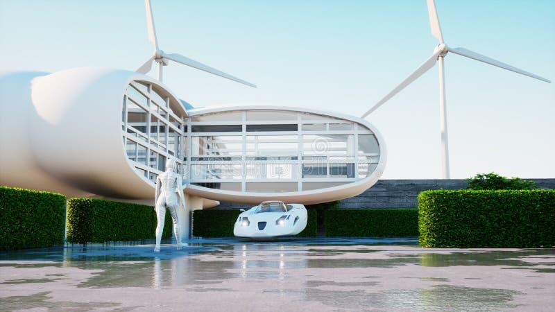 将来的房子 有走的妇女的未来派飞行汽车 3d翻译 库存例证