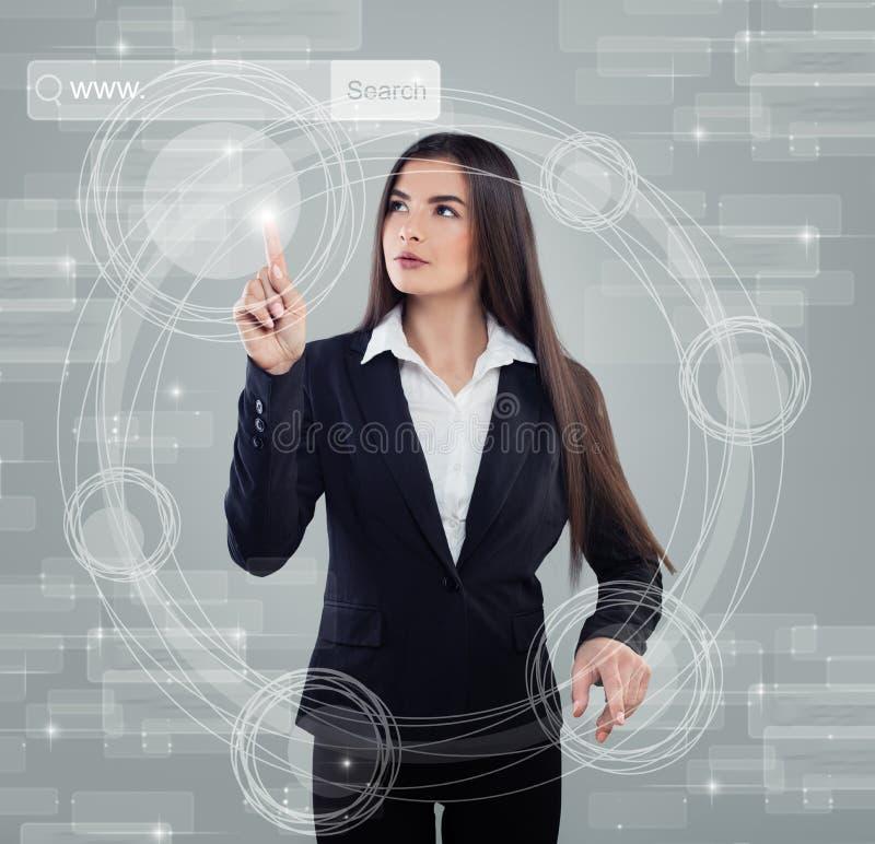 将来的技术 Bisiness妇女工作 免版税库存照片