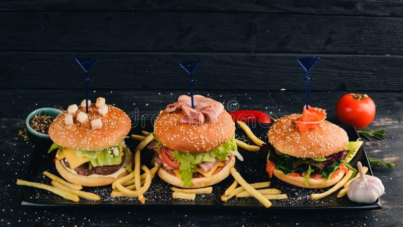 将汉堡包与鱼、肉和蔬菜搭配 免版税库存照片