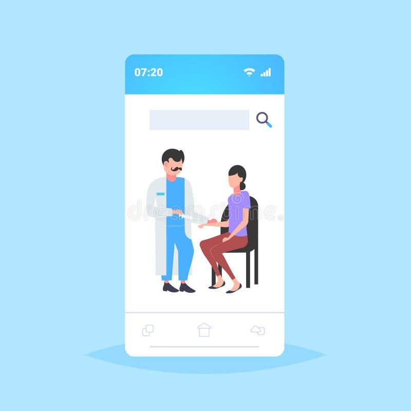 将注射疫苗注射给女性患者疫苗接种保健医学概念智能手机的医生 库存例证