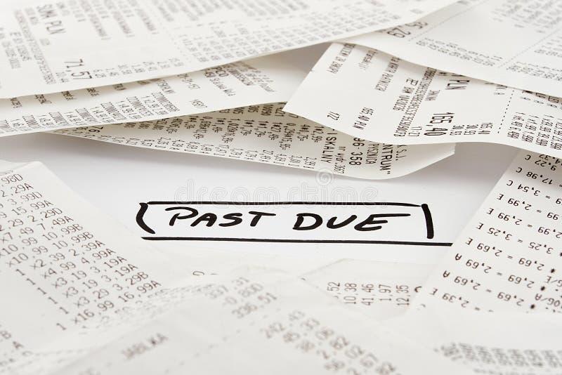 将被支付的过期票据 库存图片