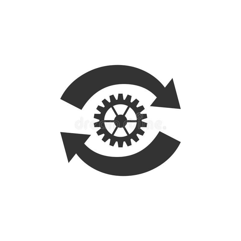 将齿轮和箭头作为工作流概念图标隔离 齿轮重装标志 皇族释放例证