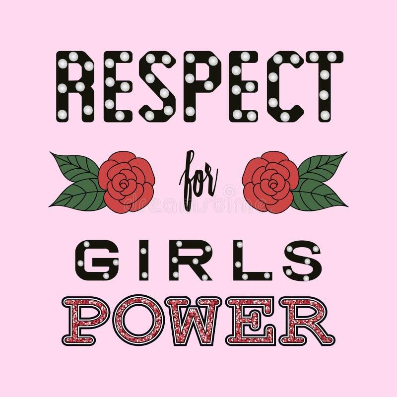 尊敬女孩力量时尚口号 草图 皇族释放例证