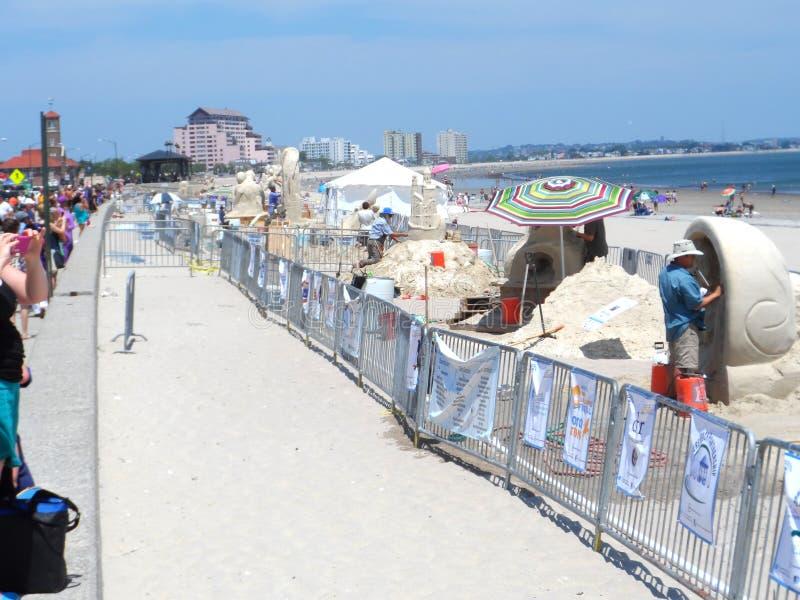 尊敬海滩全国沙子雕刻的节日 库存照片