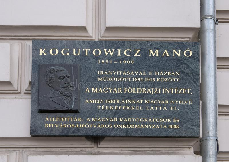 尊敬Kogutowicz马诺,一位著名匈牙利测绘员的安心和与信息有关的匾 免版税库存图片