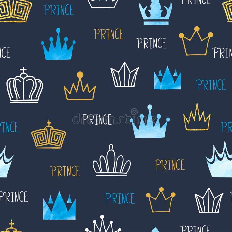 小与水彩和闪烁的冠的王子无缝的样式 向量例证