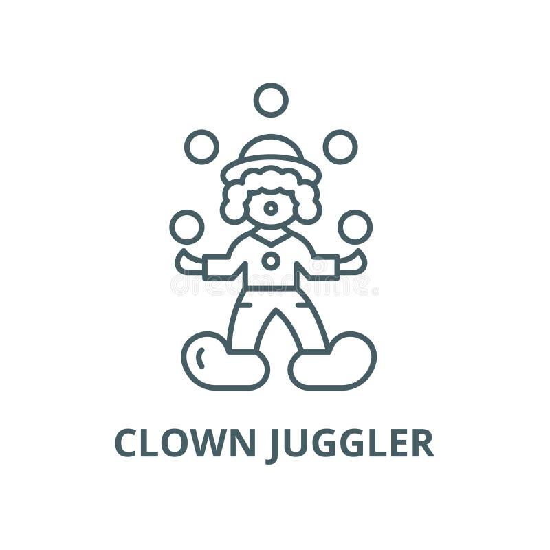 小丑变戏法者传染媒介线象,线性概念,概述标志,标志 库存例证