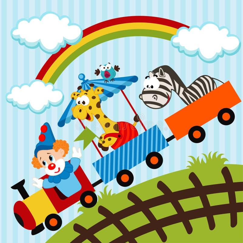小丑和动物旅行的火车 皇族释放例证