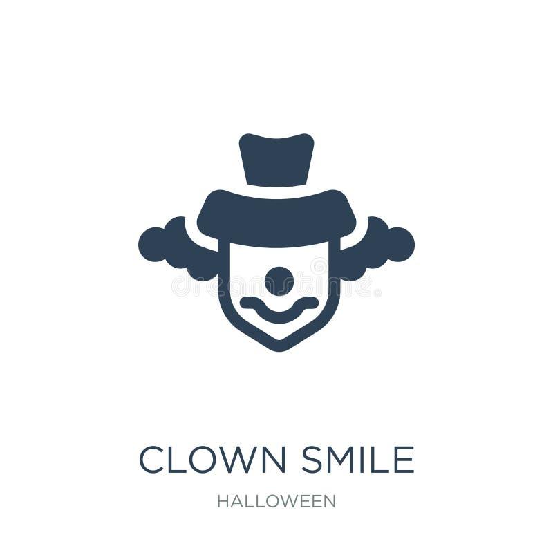小丑在时髦设计样式的微笑象 小丑在白色背景隔绝的微笑象 小丑微笑现代传染媒介的象简单和 皇族释放例证
