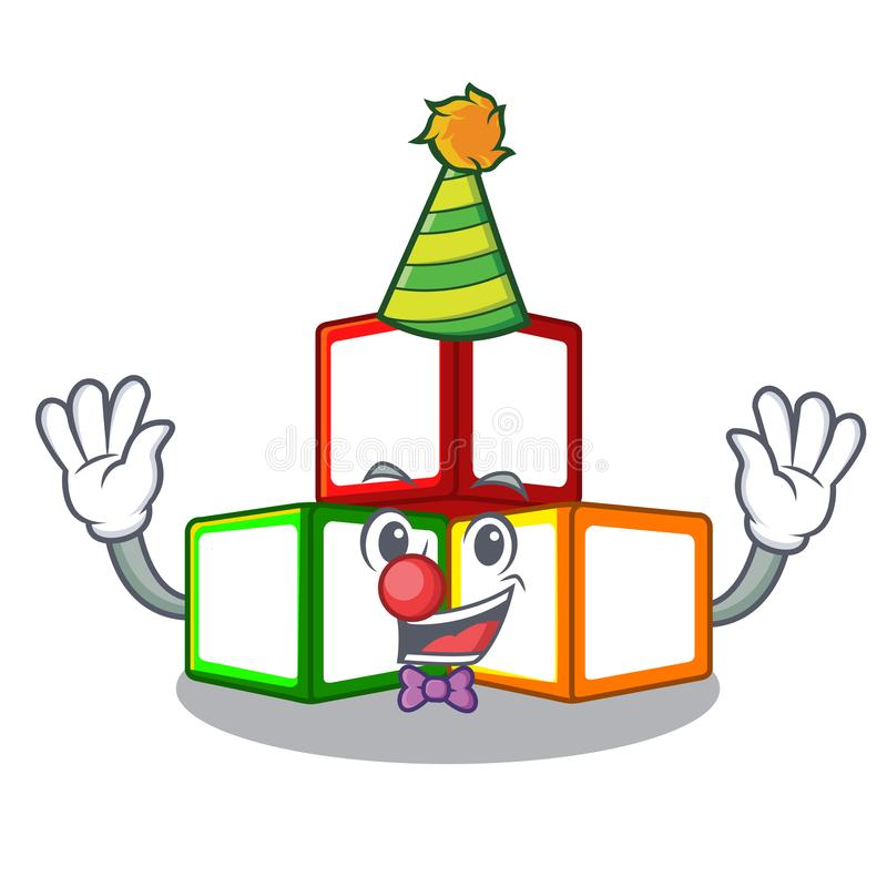 小丑在立方体箱子吉祥人的玩具块 皇族释放例证