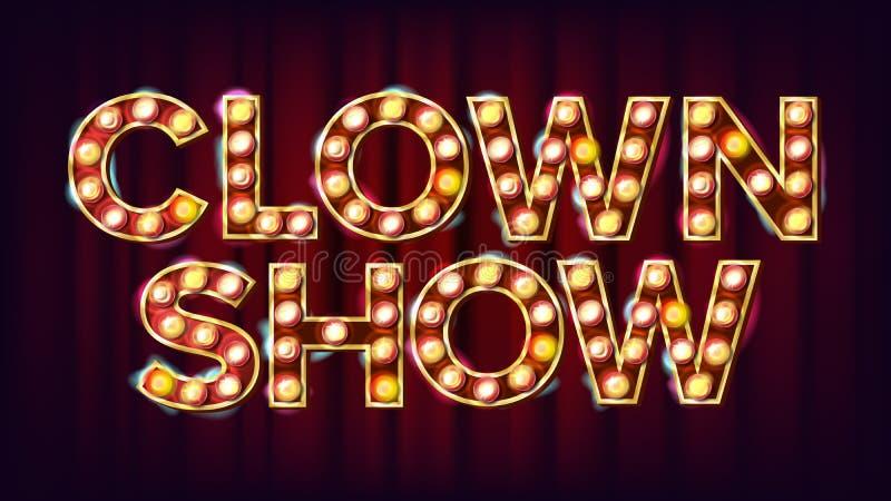小丑展示横幅标志传染媒介 对传统广告设计 马戏灯背景 欢乐例证 向量例证